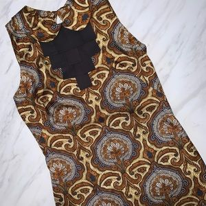 Milly Paisley 100% Silk Brown Dress Size 0